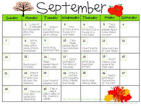 Little Miss Glamour Goes to Kindergarten: Kindergarten Homework Calendars