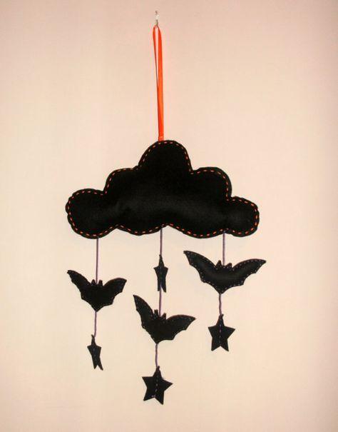Halloween Felt Bat Star Mobile  Ornament  by handmaderaspberry, £10.00