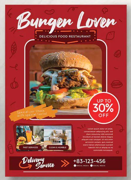 Food Flyer Template AI, EPS