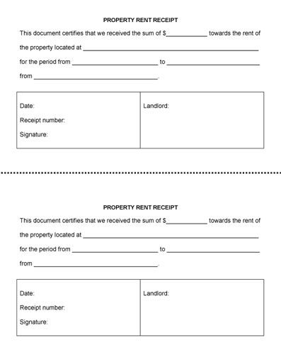 Property Rent Receipt (Two Receipts per Page) - Microsoft Word - printable rent receipts