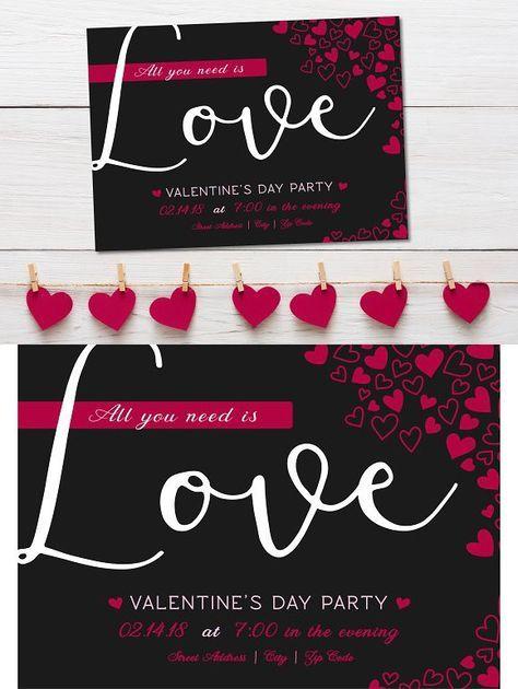 Valentines Day Party Heart Invite Invitation Templates