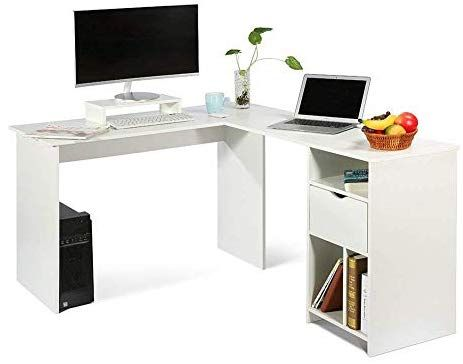 Ej Life L Shaped Office Computer Desk Large Corner Pc Table With Monitor Stand White Wood Grain 2 Carton Packages Desk Office Computer Desk White Wood