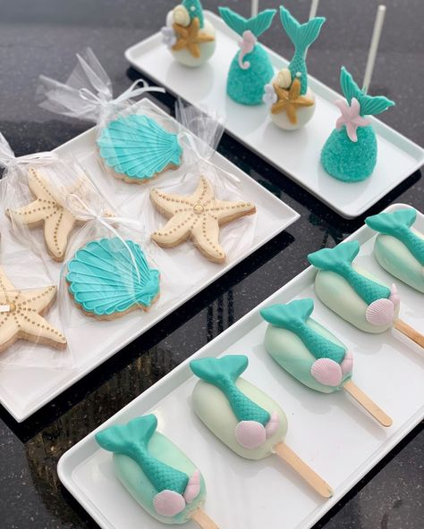 حفلة حورية البحر كيكة ميرميد كية عيد ميلاد بنات Mermaid Party Mermaid Dessert Table Mermaid Cakepops Mermaid Cooki Sugar Cookie Kids Party Desserts