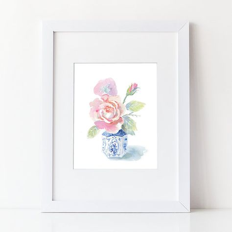 Watercolor Flower Bouquet - Rose Watercolor Art Print -Modern Floral Art Home Decor - Blue White - Chinese Style Vase