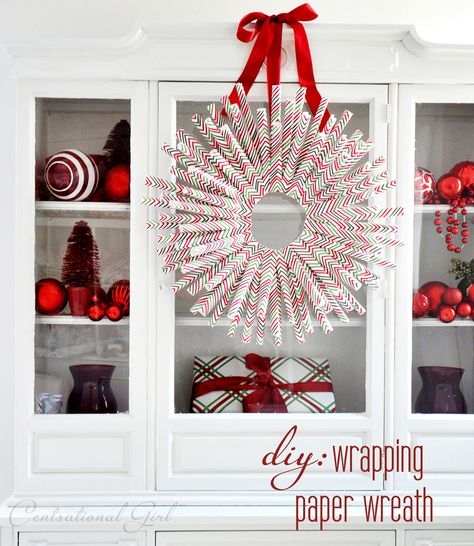 DIY Wrapping Paper Wreath by @Centsational Blog Blog Blog Blog Girl