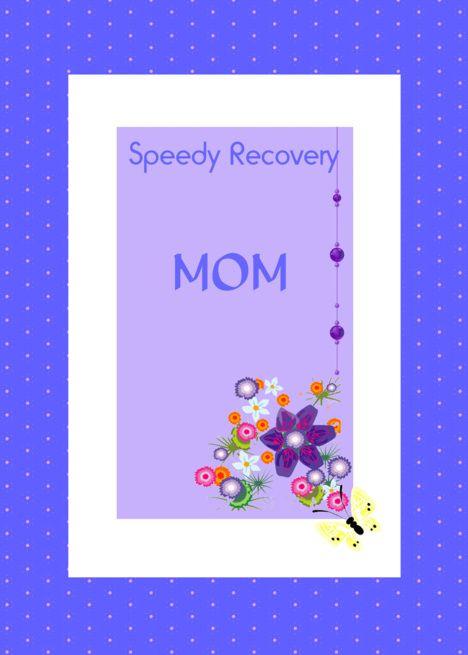 Speedy Recovery Mom Blue White Floral Motif Pretty Beads Card