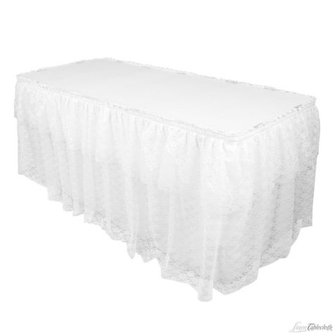 White Lace Table Skirt For More Linen Textures Visit Www Werentlinens Com Or Contact Abc Rentals To Rent Items For Lace Table Table Skirt Tablecloths For Sale