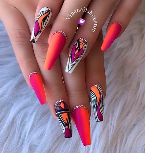Amazing orange, purple, and white coffin shaped nails design!