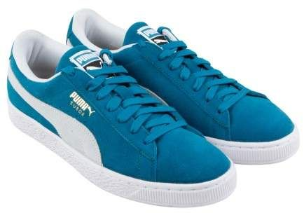 Puma Suede Classic Ocean Depths Puma White Mens Lace Up Sneakers