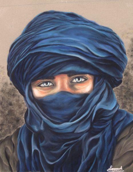 Dessin Touareg Regard Portrait Personnages Pastel L Homme En
