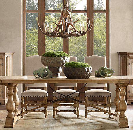 Adirondack Antler Chandelier in rustic charming dinning room