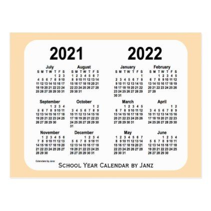 2022 Small Calendar.2021 2022 Wheat Mini School Calendar By Janz Postcard Zazzle Com School Calendar Calendar Postcard