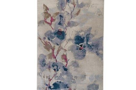 94x130 Rug Blue And Coral Watercolor Floral Rugs Coral