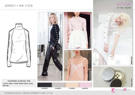 Jersey flat drawings, vector technical sketches for Fall winter Trend forecasting by