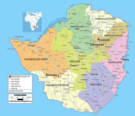 Zimbabwe. Abstract vector color map of Zimbabwe country