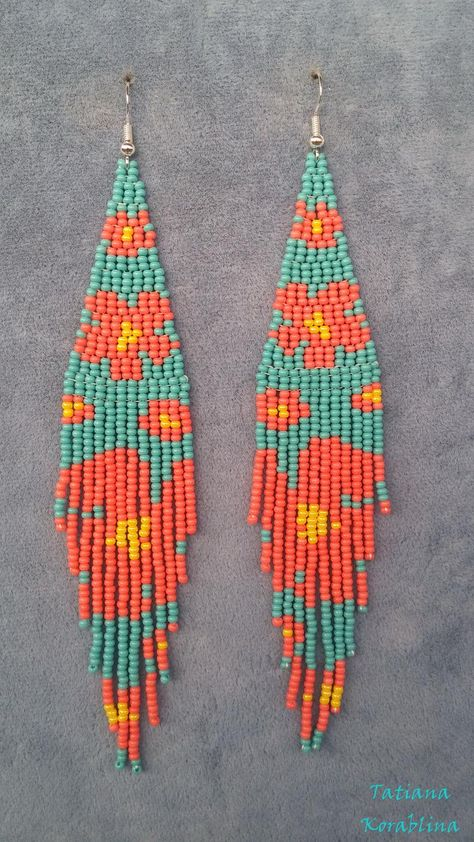 Author's beaded earrings Long evening Seed bead earring chandelier Beadwork Fringe earrings abstraction minimalism earrings turquoise coral - The Effective Pictures We Offer You About diy face mask A quality picture can tell you many things - Beaded Earrings Native, Beaded Earrings Patterns, Seed Bead Patterns, Beading Patterns, Fringe Earrings, Bracelet Patterns, Jewelry Patterns, Native Beadwork, Embroidery Patterns