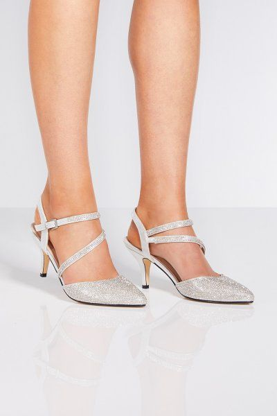 Wide Fit Gold Diamante Heeled Shoes