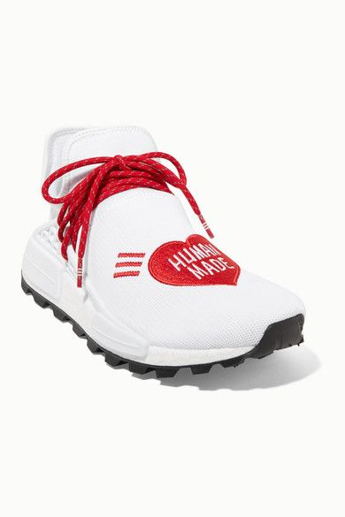 Adidas Originals Pharrell Williams Human Made Nmd Hu Appliqued Stretch Knit Sneakers White In 2020 Adidas Originals Adidas Originals Fashion Pharrell Williams