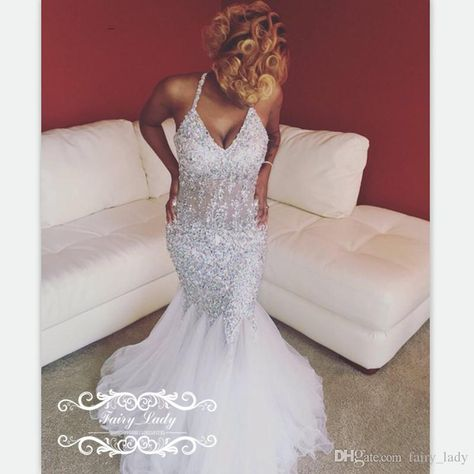 0e432ee1c44 2017 Illusion Bodice Halter Ruched Mermaid Evening Dresses Long Luxury  Crystal Major Beading Sheer Waist White Tulle Prom Dresses Gown in 2019