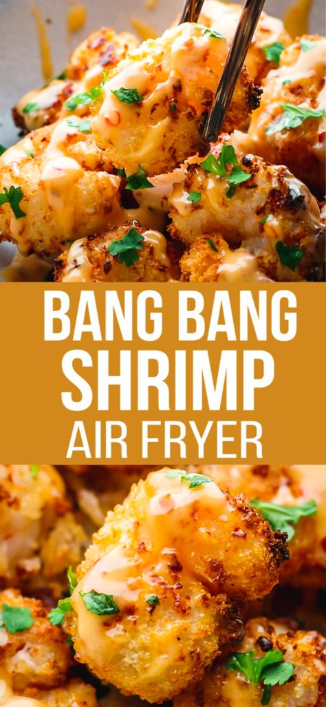 Bang Bang Shrimp Air Fryer – Bang Bang Shrimp recipe cooked in Air Fryer with a little bit of oil and served with an amazing bang bang shrimp sauce. Informations About Bang Bang Shrimp Air F Air Fryer Oven Recipes, Air Frier Recipes, Air Fryer Dinner Recipes, Recipes Dinner, Air Fryer Recipes Shrimp, Diabetic Dinner Recipes, Air Fryer Recipes Appetizers, Seafood Recipes, Cooking Recipes