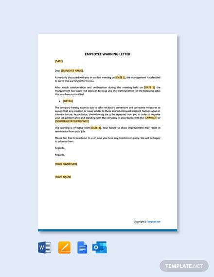 Employee Warning Letter Template Free Pdf Google Docs Word Template Net Cover Letter Template Free Lettering Letter Templates