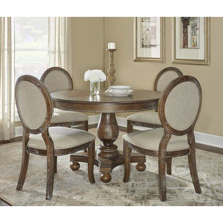 Powell Lenoir 5 Piece Dining Table Set Wirebrushed Oak Size 48