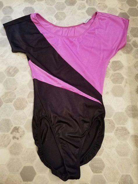 b6676fbd16 Vtg 80s Parklane Workout Nylon Spandex Leotard Bodysuit Pink Black Striped  M EUC