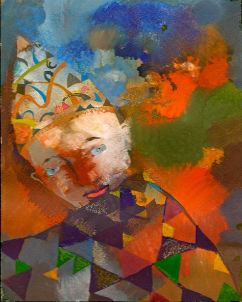Playing Clown [Art Deco-A3519] - $500.00 painting by oilpaintingsartmaker.com
