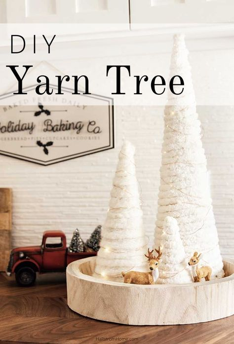 Yarn Tree DIY with Twinkle Lights - Trend Christmas Card 2020 Diy Christmas Decorations For Home, Diy Christmas Lights, Diy Halloween Decorations, Farmhouse Christmas Decor, Rustic Christmas, Christmas Diy, Farmhouse Decor, Halloween Diy, Diy Christmas Crafts To Sell