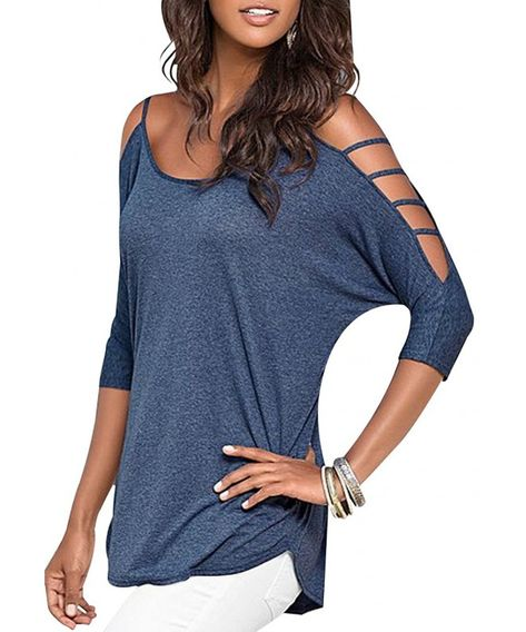 Women's Casual Loose Hollowed Out Shoulder Top Crew Loose Blouse T-Shirt - Blue - C7182ZD9SC7,Women's Clothing, Tops & Tees, Blouses & Button-Down Shirts  #Tops #Tees #summer #Tshirt #Blouses & Button-Down Shirts