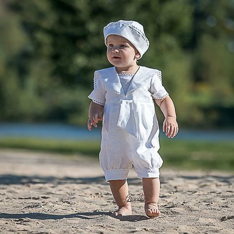 bec317032 Baby boy baptism outfit Boy sailor rompers Baby boy linen overalls White  christening suit Ring beare