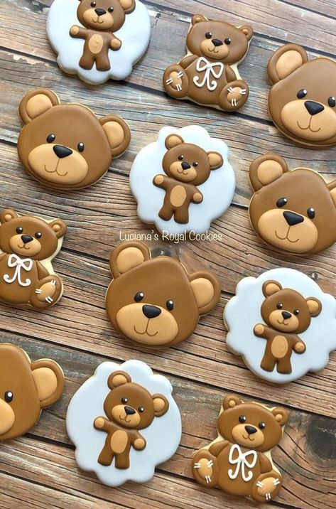 Teddy Bear Birthday Cake, Teddy Bear Party, Teddy Bear Baby Shower, Teddy Bear Cookies, Baby Cookies, Baby Shower Cookies, Baby Shower Decorations For Boys, Boy Baby Shower Themes, Baby Boy Shower