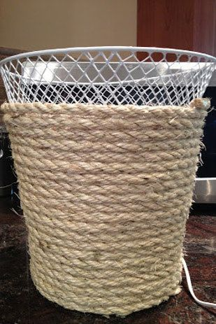 dollar store waste basket makeover, bathroom ideas, crafts, repurposing upcycling, Use a hot glue gun to wrap it with rope - The Best of Diy Ideas Nautical Bedroom, Nautical Bathrooms, Nautical Office, Beach Bathrooms, Rope Crafts, Diy Crafts, Cheap Home Decor, Diy Home Decor, Diy Decorations For Home