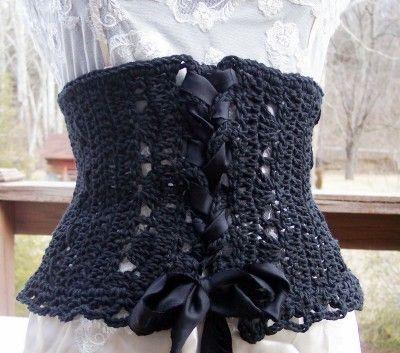 Crochet corset. Too cute!