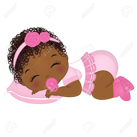 Vector Cute African American Baby Girl Sleeping Vector Baby Girl African American Baby Girl Vector Illustration Spon Black Baby Art Baby Art Baby Clip Art