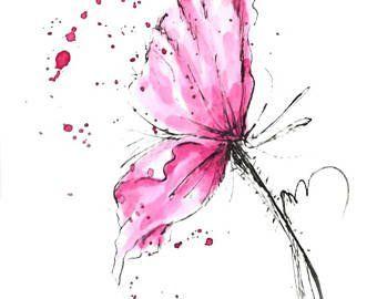 Mohn Blume Blau Original Aquarell Malerei Stift Und Tinte Etsy Aquarell Kunst Blumen Zeichnen