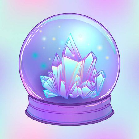 Crystal Ball With Crystals Gems Stock Vector Affiliate Crystals Ball Crystal Vector Ad Crystal Illustration Witch Crystal Ball Crystal Ball