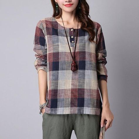 ZANZEA 2018 Spring Summer Women Blouse Casual Loose Buttons Shirt Round Neck Big Plaid Femme Blusas Plus Size Mujer Clothes Tops