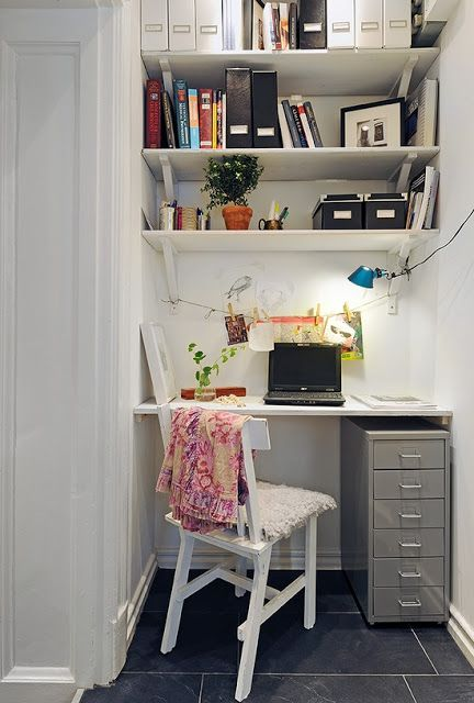 small space office. Blackboard Wall In A Monochrome Home Office. More Creative Work Spaces And Share Your Own On #EtsyDeskie | Decor Pinterest Wall, Small Space Office E