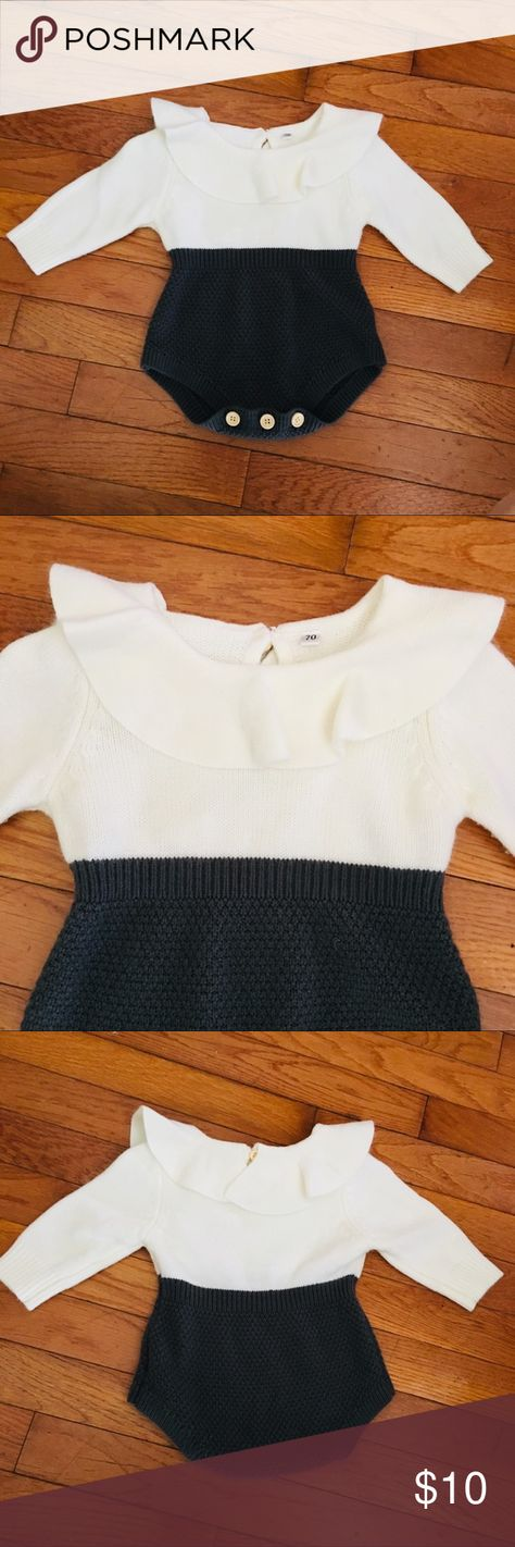 Baby Girl Sweater Romper Sz 9 months Baby Girl Sweater Romper Sz 9 months  Grey and creme sweater romper.  Sz tag is missing but my little girl wore it at 9 -12 months.  Has been worn a few times and is still in great condition.  No major stains only slight wear in sweater material. Boutique One Pieces