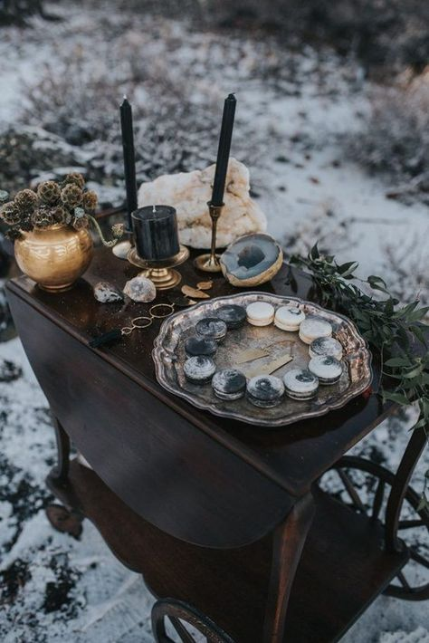 Moody and edgy wedding dessert cart from this lunar-themed winter wedding inspo