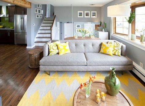 Wohnzimmer Farbgestaltung – Grau und Gelb - Wohnzimmer Farbgestaltung bodenteppich weich gelb grau wand
