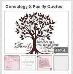 "a screenshot of GenealogyBank's ""Genealogy & Family Quotes"" Pinterest board"