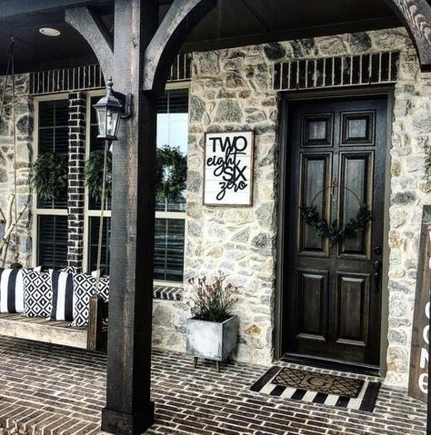 front porch ideas curb appeal These House numbers are perfect for your home or office! Hand painted or stained for wonderful finished look. House Colors, Front Porch Design, Front Porch Decorating, Modern Farmhouse, Front Door Porch, House Front Porch, Modern Farmhouse Porch, House Numbers
