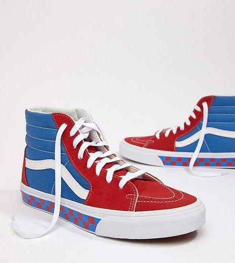 4947f135ed Vans Factory Pack SK8-Hi Checkerboard Sneakers In Blue Exclusive To ASOS