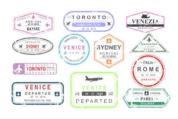 Vector Illustration Set Of Isolated Visa Passport Stamps Of