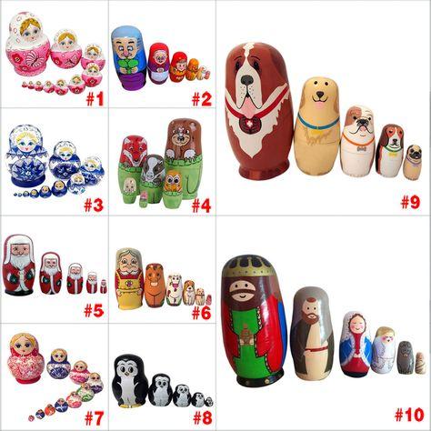 Nesting Dolls Wooden Matryoshka Set Russian Dolls Hand Painted Birthday Gifts