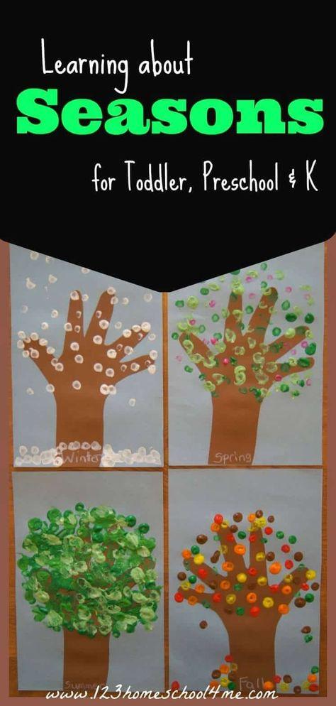 FREE Printable Seasons Activities Seasons - Preschool Science - Learning about Seasons Week Seasons Kindergarten, Kindergarten Science, Preschool Lessons, Kindergarten Projects, Kindergarten Themes, Seasons Worksheets, Seasons Activities, Kids Crafts, Preschool Activities