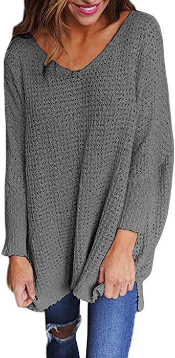 StyleDome Women's Long Sleeve Shirt Blouse V Neck Pullover