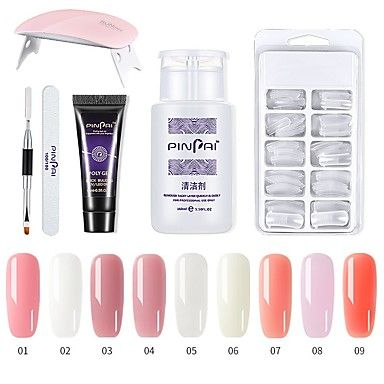 Polygel Kit With Uv Led Lamp Nail Extension Builder Gel Full Cover Nail Tips Brush File Poly Gel Colors Gel And Liquid Poly In 2020 Gel Nails Gel Nail Set Cheap Nail